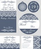 Winter wedding template set.Snowflakes paisley border