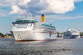 The Big Cruise Ship Aurora In Stockholm