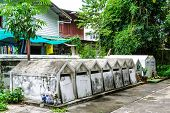 picture of corpses  - cemetary for keep corpse before burn in crematory in temple thailand - JPG