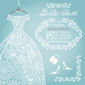 Bridal shower invitation.Wedding snowflake lace dress