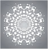 Circle Ornament, Round Ornamental Geometric Pattern, Christmas Snowflake Decoration