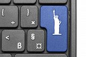 Go To New York!. Blue Hot Key On Computer Keyboard.
