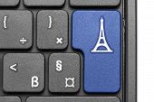 Go To Paris!. Blue Hot Key On Computer Keyboard.
