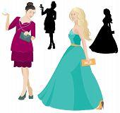 Party Women In Dress Vector
