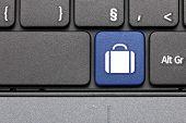 Travel. Blue Hot Key On Computer Keyboard.