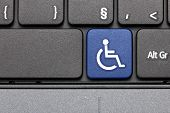 Accessible. Blue Hot Key On Computer Keyboard.