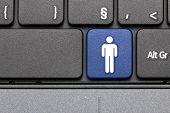 For Men. Blue Hot Key On Computer Keyboard.
