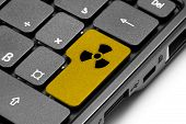 Radiation. Yellow Hot Key On Computer Keyboard.