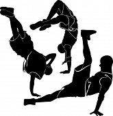 picture of break-dance  - collection breakdance silhouette break dance black vector - JPG