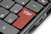 Stop! Red Hot Key On Computer Keyboard.
