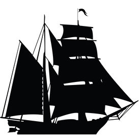 stock photo of pirate ship  - Black silhouette of sailing ship isolated on white background - JPG