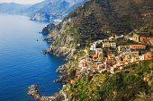 pic of amor  - Via dell Amore aerial view The Way of Love linking Manarola and Riomaggiore - JPG