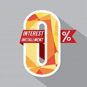 picture of zero  - Zero Percent Interest Installment Vector Illustration - JPG