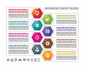 stock photo of booklet design  - Business infographic concept colored hexagon blocks in flat style design - JPG