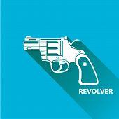 picture of pistols  - vector vintage pistol gun icon on blue background - JPG