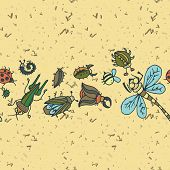 picture of summer insects  - Cute cartoon insect border pattern - JPG