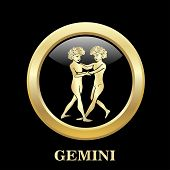 pic of gemini  - Gemini zodiac sign in oval frame vector Illustration - JPG