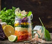 picture of yellow-pepper  - Bright rainbow salad layers of tomatoes - JPG