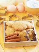 stock photo of cookie  - fresh cookies on the wooden table - JPG