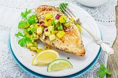 stock photo of cilantro  - Grilled chicken breast with salsa pineapple - JPG