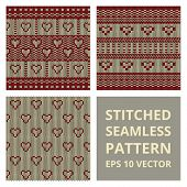 pic of stitches  - Stitched seamless pattern set with silhouette of heart - JPG