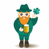 picture of dwarf  - Illustration of Saint Patrick Day ginger bearded smiling male dwarf character in green costume and hat holding a mug of beer and lucky shamrock isolated on white - JPG
