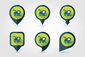 foto of combine  - Combine harvester flat mapping pin icon with long shadow - JPG