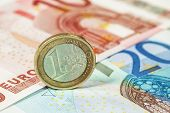 stock photo of money prize  - Money euro coin and banknotes - JPG