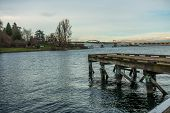 stock photo of pier a lake  - View of the west end of the 520 bridge in Seattle - JPG