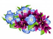 foto of forget me not  - Illustration of Spring Wet Lilac and Forget - JPG