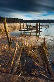 image of pier a lake  - Small pier on lake beautiful long exposure photo - JPG