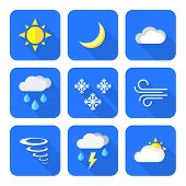 stock photo of windy weather  - vector color flat design weather forecast icons set long shadows - JPG