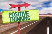 stock photo of think positive  - Positive Thinking sign with road background - JPG