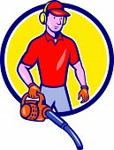 picture of blowers  - Cartoon style illustration of male gardener landscaper standing holding leaf blower set inside circle - JPG