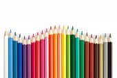 image of color wheel  - Color pencils arranged in a color wheel on a white background - JPG