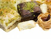 picture of baklava  - Close view at the few Turkish baklavas - JPG