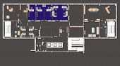 picture of straddling  - Plan of a large office with straddling furniture