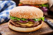 picture of pork cutlet  - Burger with pork cutlete and pickles - JPG