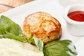 stock photo of mashed potatoes  - Meat cutlet with mashed potatoes  - JPG