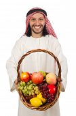 picture of arab man  - Arab man with fruits isolated on white - JPG