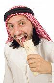 pic of arab man  - Arab man earing wrap isolated on white - JPG