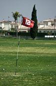 Red flag on golf driving range