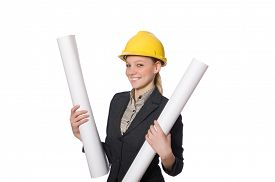 pic of draft  - Woman  engineer with draft papers - JPG