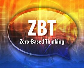image of zero  - word speech bubble illustration of business acronym term ZBT Zero - JPG
