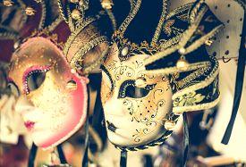 foto of venice carnival  - amazing carnival masks for traditional Venetian carnival fest - JPG