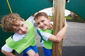 foto of physical education  - Boys On Climbing Wall In School Physical Education Class - JPG