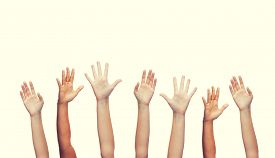 foto of waving hands  - gesture and body parts concept  - JPG