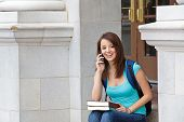 Female student on her cell phone