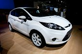 Moscow, Russia - August 25:  White Car Ford Fiesta On Display At Moscow International Exhibition Int