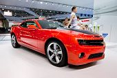 Moscow, Russia - August 25:  Red Sport Car Chevrolet Camaro  On Display At Moscow International Exhi